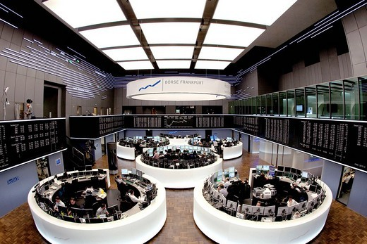 Main trading room of the Frankfurt Stock Exchange by Deutsche Boerse AG in Frankfurt am Main, Hesse, Germany, Europe : Stock Photo