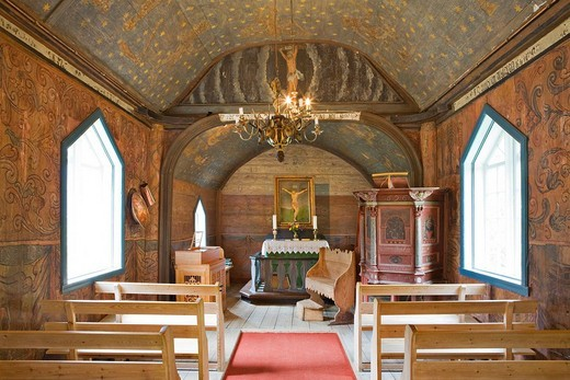 Interior of the stave church 12th century in Undredal at Aurlandsfjord, Norway, Scandinavia, Europe : Stock Photo