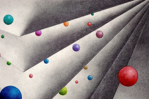 Pencil drawing, geometrical forms with colourful balls, by the artist Gerhard Kraus, Kriftel, Germany : Stock Photo