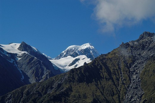 Mt. Cook viewed from a helicopter, Southern Alps, Fox Glacier, South Island, New Zealand, Oceania : Stock Photo