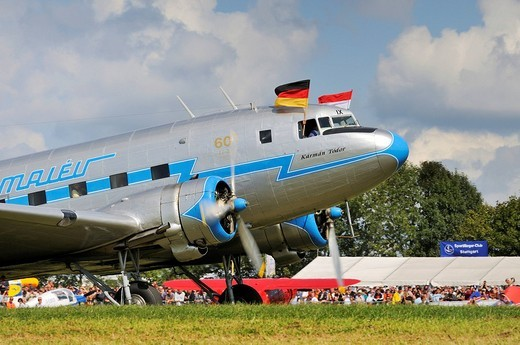 Stock Photo: 1848-240345 The only airworthy Russian Lisunov Li_2, a licensed version of the Douglas DC 3, Europe´s largest meeting of vintage planes at Hahnweide, Kirchheim_Teck, Baden_Wuerttemberg, Germany, Europe
