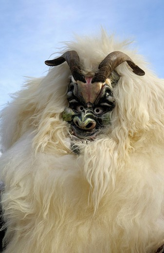 Sheep mask, Tschaeggaetae, Carnival masks, Wiler, Loetschental, Valais, Switzerland : Stock Photo