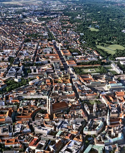 Aerial picture, city centre, historic centre of Munich, Marienplatz Square, Cathedral, Frauenkirche Church, Leopoldstrasse street, Upper Bavaria, Germany, Europe : Stock Photo