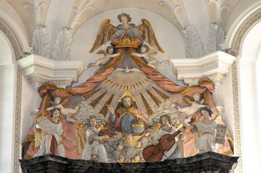 Detail, Hohenrechberg pilgrimage church, built in 1686, Rechberg, Schwaebisch Gmuend, Baden_Wuerttemberg, Germany, Europe : Stock Photo