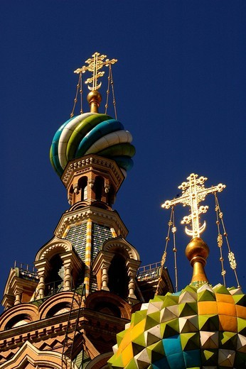 Stock Photo: 1848-242458 At the Gribojedow canal, church with colorful onion domes , Saint Petersburg , Russia , East Europe