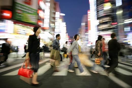 Stock Photo: 1848-242926 Japan, Tokyo: Shinjuku district. Shopping and amusement area at Shinjuku Dori street.