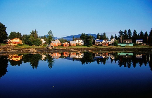Stock Photo: 1848-242986 Typical southeast Alaskan fjord settlement, southeastern Alaska, USA