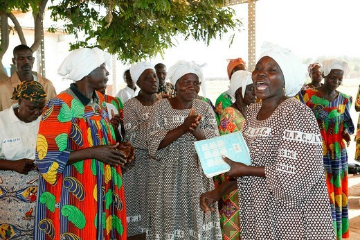 Women singing at a church service, Garoua, Cameroon, Africa : Stock Photo