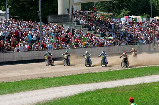 Short track race, international motorcycle race on a dirt track speedway in Muehldorf am Inn, Upper Bavaria, Bavaria, Germany, Europe : Stock Photo