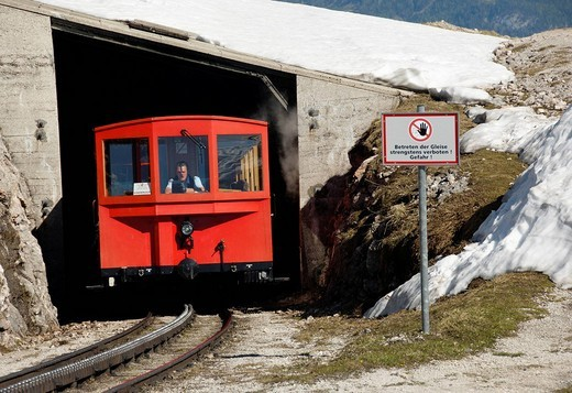 Stock Photo: 1848-243341 The Schafbergbahn, cog railway on the Schafberg Mountain coming out of a tunnel, Salzburg, Austria, Europe