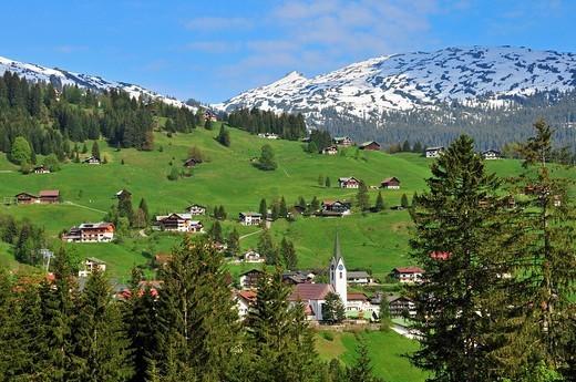 Hirschegg, Kleinwalsertal, Vorarlberg, Allgaeuer Alps, Austria, Europe : Stock Photo