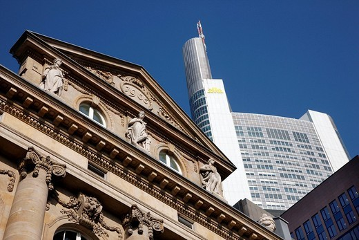 The Commerzbank headquarters in the banking district, Frankfurt, Hesse, Germany, Europe : Stock Photo