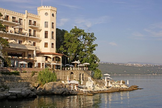 Hotel Miramar at the Adriatic Sea, Opatija, Istria, Croatia : Stock Photo