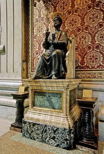 Stock Photo: 1848-244001 Seated St. Peter, Petrus, St. Peter´s Basilica, Vatican City, Rome, Latium, Italy, Europe