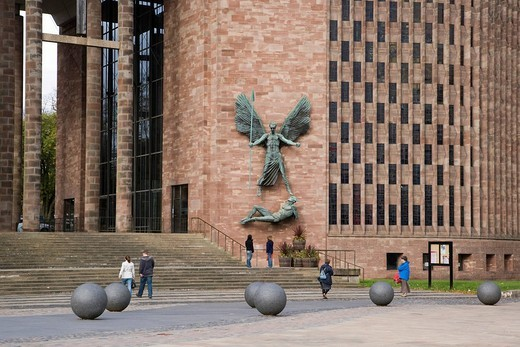 Stock Photo: 1848-244013 St Michael´s Victory over the Devil, sculpture by Sir Jacob Epstein at St Michael´s or Coventry Cathedral, Leicester, England, United Kingdom