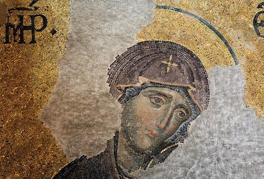 Head of Mary, Deesis mosaic in the South Gallery, Hagia Sophia, Aya Sofya, Sultanahmet, Istanbul, Turkey : Stock Photo