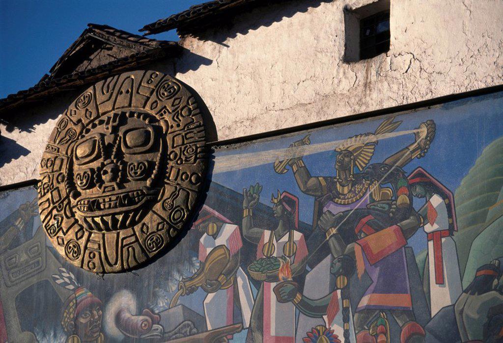 Stock Photo: 1848-244209 Symbol of the Sun as the supreme deity of the Incas, Cusco, Peru, South America