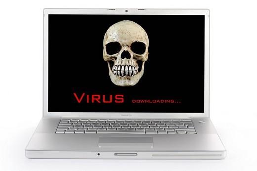 Warning, virus alert, PC : Stock Photo