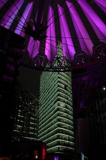 Roof of the Sony Center and the Deutsche Bahn tower, Potsdamer Platz square, Berlin, Germany, Europe : Stock Photo