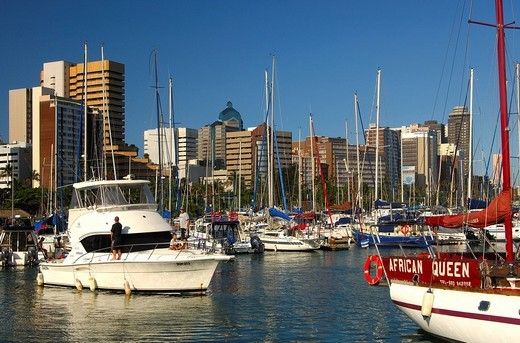 Skyline and Yacht harbour, Durban, South Africa : Stock Photo