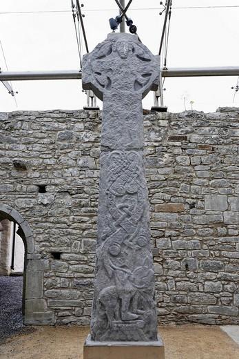 Stock Photo: 1848-244550 Celtic crosses in the Kilfenora church, Burren, Clare, Ireland