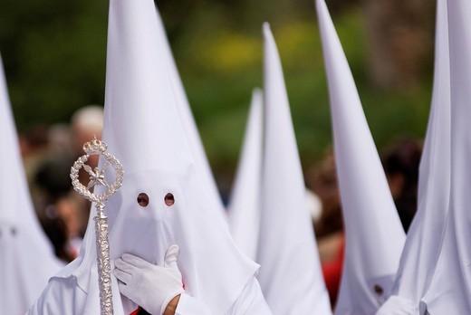 Stock Photo: 1848-244680 Penitents in white robes, Semana Santa procession, Granada, Andalusia, Spain