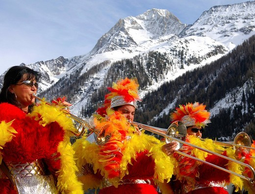 Stock Photo: 1848-245099 Traditional Swiss guggenmusik during carnival on the foot of Mount Bietschhorn, Wiler, Loetschental, Valais, Switzerland