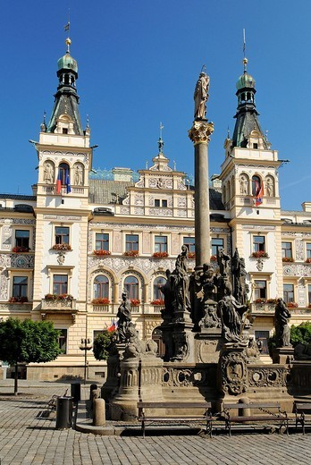 Statue in front of ornate building facade in the historic centre of Pardubice, East Bohemia, Czech Republic, Czechia, Europe : Stock Photo