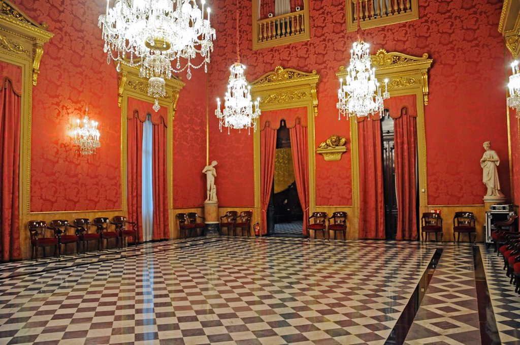 Stock Photo: 1848-245679 The Golden Parlour, hall, Palacio de la Llotja de Mar, former stock exchange, Barcelona, Catalonia, Spain, Europe