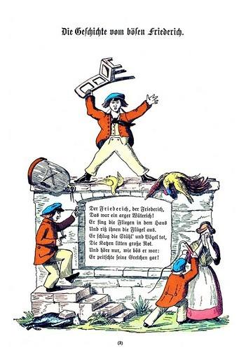 Book illustration, Die Geschichte vom boesen Friederich, The Story of Cruel Frederick, Der Struwwelpeter, Shaggy Peter, Dr. Heinrich Hoffmann, 1876 : Stock Photo