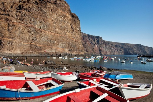 Stock Photo: 1848-245921 Harbour, Playa de Vueltas, Valle Gran Rey, La Gomera, Canary Islands, Spain