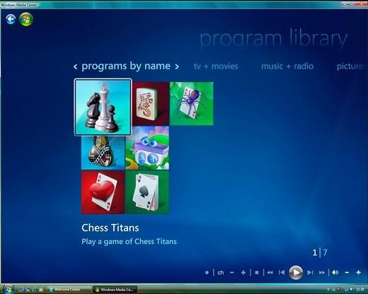 Stock Photo: 1848-246484 Microsoft Windows Vista, english version, Media Center User Interface, Program Library, screenshot