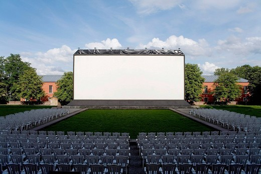 Screen at open_air cinema Schloss Gottesaue, Karlsruhe, Baden_Wuerttemberg, Germany : Stock Photo