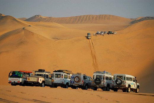 Stock Photo: 1848-246882 Jeeps in the dunes at Conception Bay, Diamond Area, Namibia