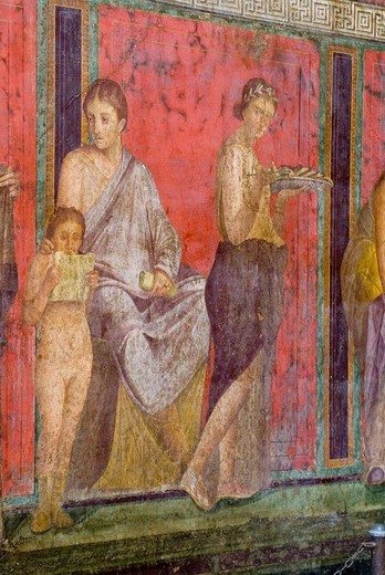 Wall mural, fresco, Villa dei Misteri Villa of the Mysteries, excavations at Pompeii, Roman archaeological site, Naples, Campania, Italy : Stock Photo