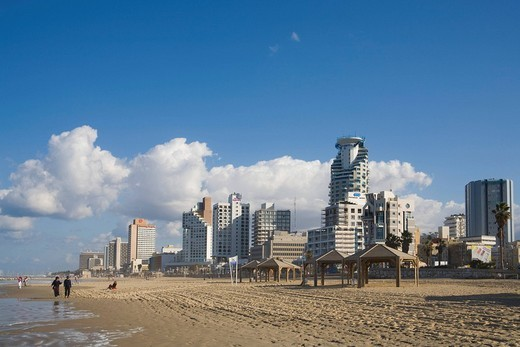 Hotels and high_rise buildings along the beach, Tel Aviv, Israel, Middle East : Stock Photo