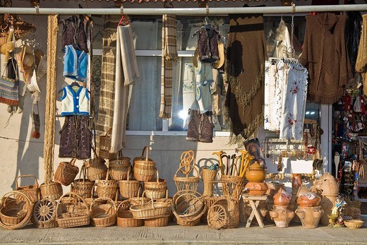 Stock Photo: 1848-247649 Romanian market with a lot of baskets, Izvoru Cri&351,ului, Cluj, Transylvania, Romania, Europe
