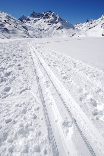 Snow trail, Nordic, Galtuer, Tyrol, Austria, Europe : Stock Photo