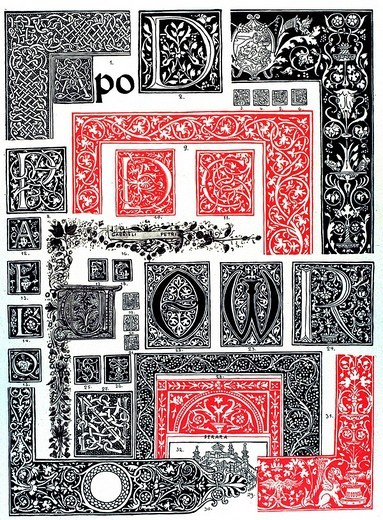 Historic illustration, Italian ornaments, Venetian ornamental book art : Stock Photo