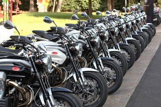 Moto Guzzi Griso 8V motorcycles in a row : Stock Photo