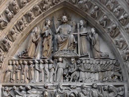 Stock Photo: 1848-247984 Last Judgement, detail of the entrance portal of the cathedral Notre Dame de Paris, Paris, France, Europe