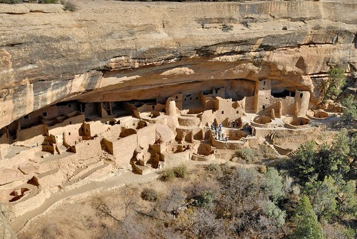 Stock Photo: 1848-248123 Historic buildings in the Ancestral Puebloans, entire Cliff Palace complex, Mesa Verde National Park, Colorado, USA