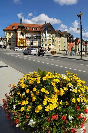 Stock Photo: 1848-248319 Isarbruecke Bridge and historic centre, Bad Toelz, Bavaria, Germany, Europe