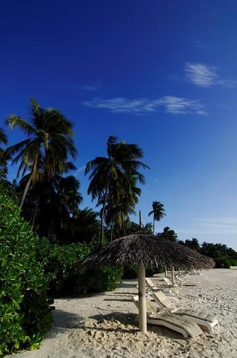 Sunshade and beach loungers at Laguna Resort, The Maldives, Indian Ocean : Stock Photo