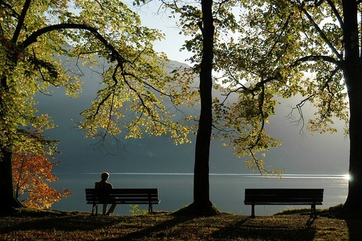 *** BLOCKING NOTICE: Retail Post Cards until Oct, 31, 2009, Germany, Austria, Switzerland *** old man sitting on a park bench, Kochelsee, Bavaria, Germany : Stock Photo