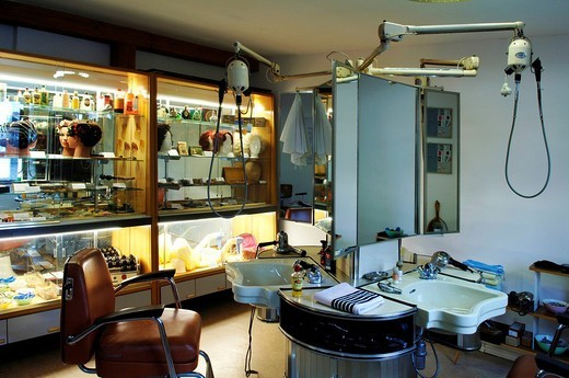 Retro barber shop from the 1950s, Industriemuseum, Lauf/Pegnitz, Franconia, Bavaria, Germany, Europe : Stock Photo