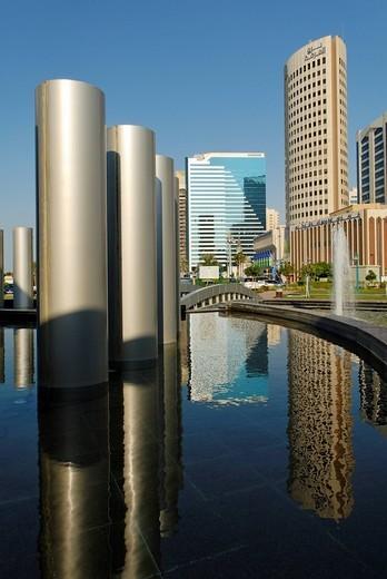 Skyline of Abu Dhabi, Emirate of Abu Dhabi, United Arab Emirates, Arabia, Near East : Stock Photo