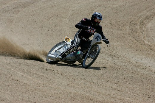 Stock Photo: 1848-249101 Short track race at a motorcycle speedway in Muehldorf am Inn, Upper Bavaria, Bavaria, Germany, Europe