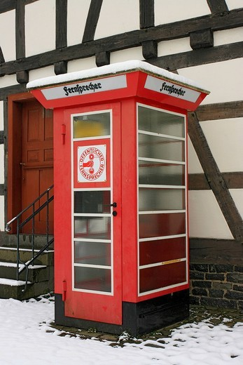 Telephone booth, pay phone, Hessenpark, Neu_Anspach, Hesse, Germany : Stock Photo