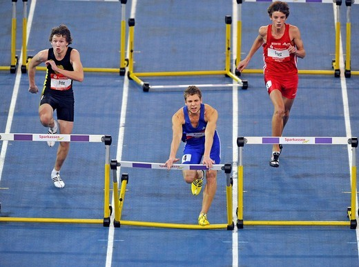 Stock Photo: 1848-249807 60 m hurdles, youth, from left: Johannes Peter GER, Moritz Riekert GER, Felix Franz GER, Sparkassen_Cup 2009, Stuttgart, Baden_Wuerttemberg, Germany, Europe